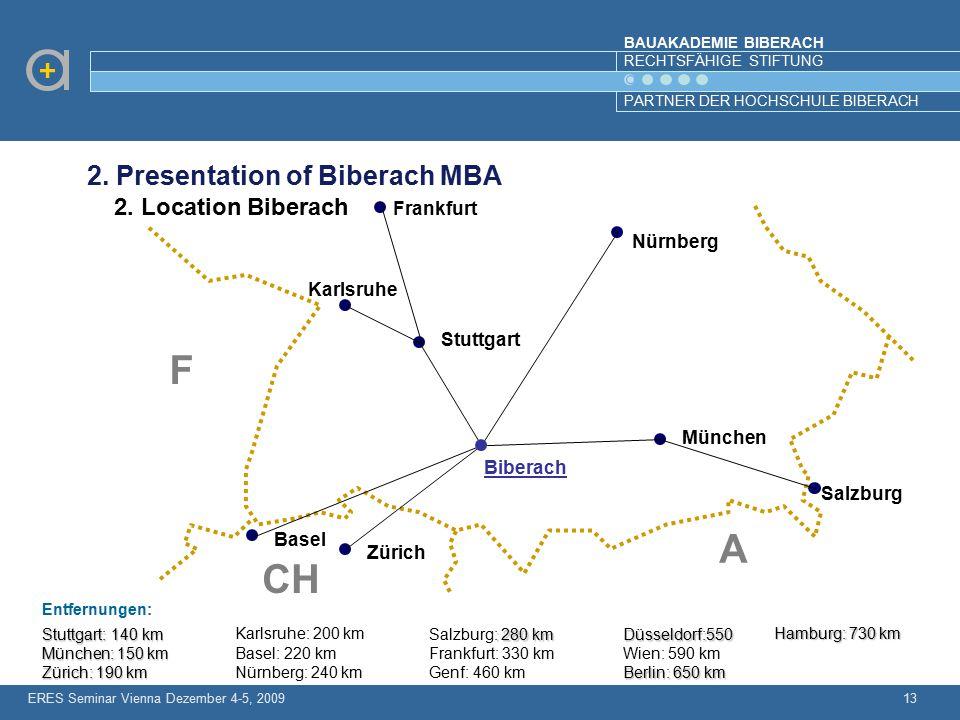 BAUAKADEMIE BIBERACH RECHTSFÄHIGE STIFTUNG PARTNER DER HOCHSCHULE BIBERACH 13 Stuttgart: 140 km München: 150 km Zürich: 190 km Karlsruhe: 200 km Basel