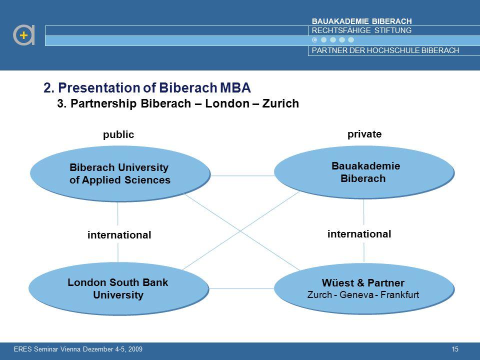 BAUAKADEMIE BIBERACH RECHTSFÄHIGE STIFTUNG PARTNER DER HOCHSCHULE BIBERACH ERES Seminar Vienna Dezember 4-5, 200915 2. Presentation of Biberach MBA 3.