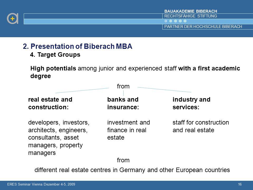 BAUAKADEMIE BIBERACH RECHTSFÄHIGE STIFTUNG PARTNER DER HOCHSCHULE BIBERACH ERES Seminar Vienna Dezember 4-5, 200916 2. Presentation of Biberach MBA 4.