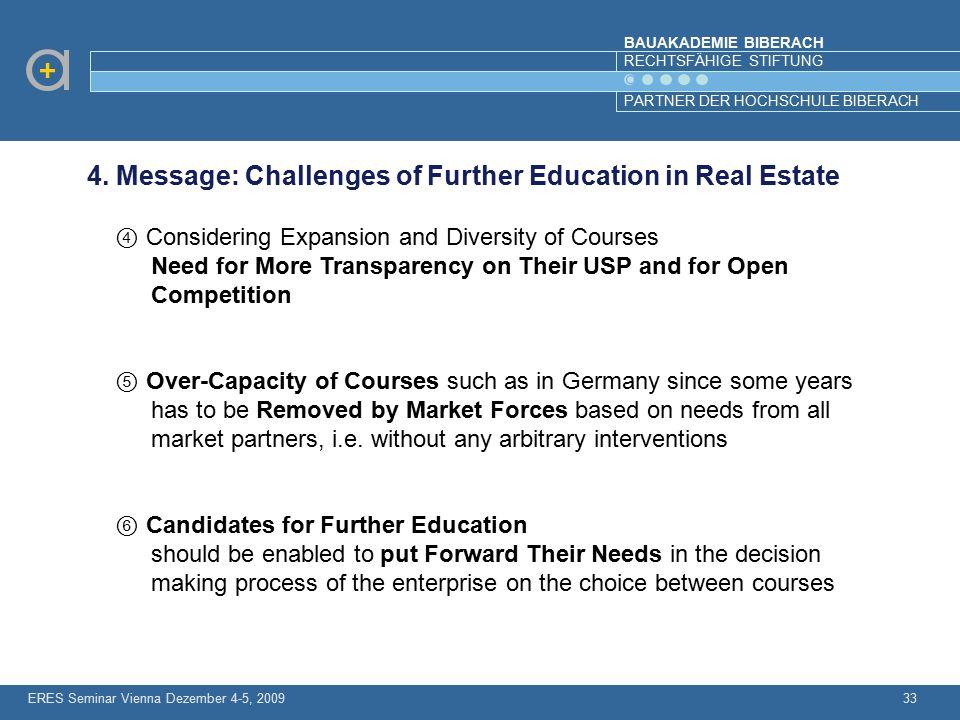 BAUAKADEMIE BIBERACH RECHTSFÄHIGE STIFTUNG PARTNER DER HOCHSCHULE BIBERACH ERES Seminar Vienna Dezember 4-5, 200933 4. Message: Challenges of Further