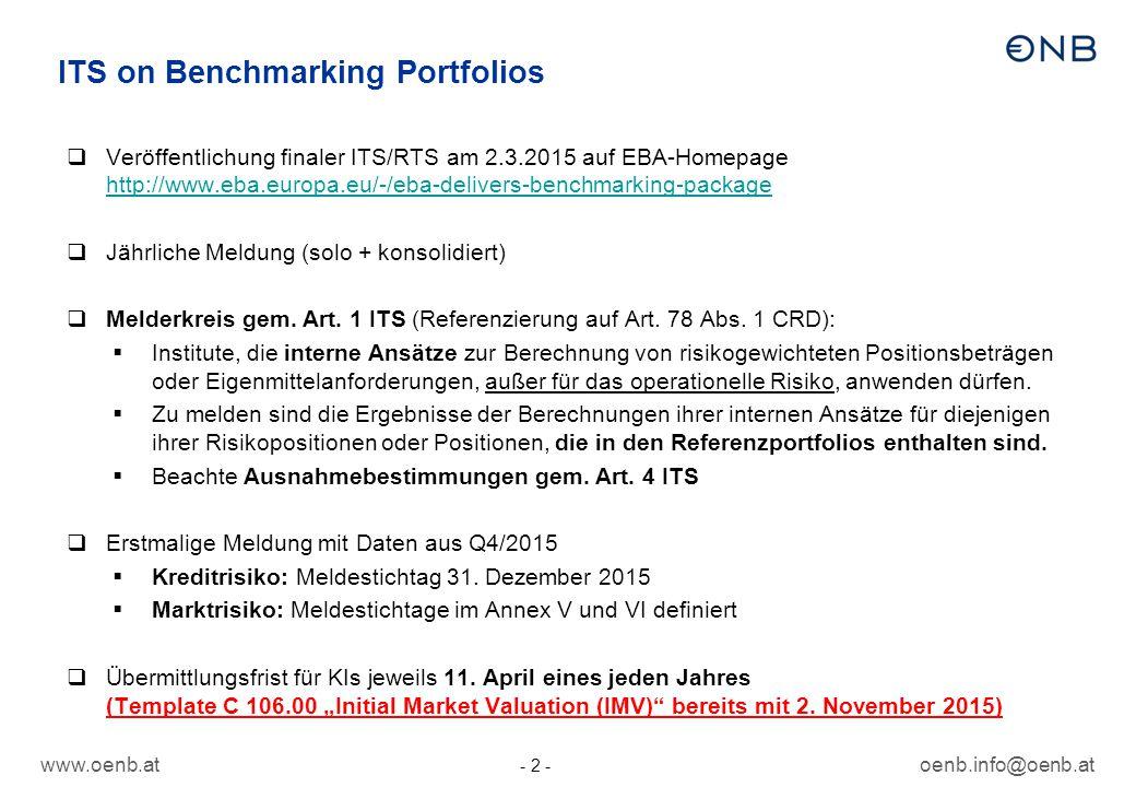 oenb.info@oenb.at - 2 - ITS on Benchmarking Portfolios  Veröffentlichung finaler ITS/RTS am 2.3.2015 auf EBA-Homepage http://www.eba.europa.eu/-/eba-delivers-benchmarking-package http://www.eba.europa.eu/-/eba-delivers-benchmarking-package  Jährliche Meldung (solo + konsolidiert)  Melderkreis gem.