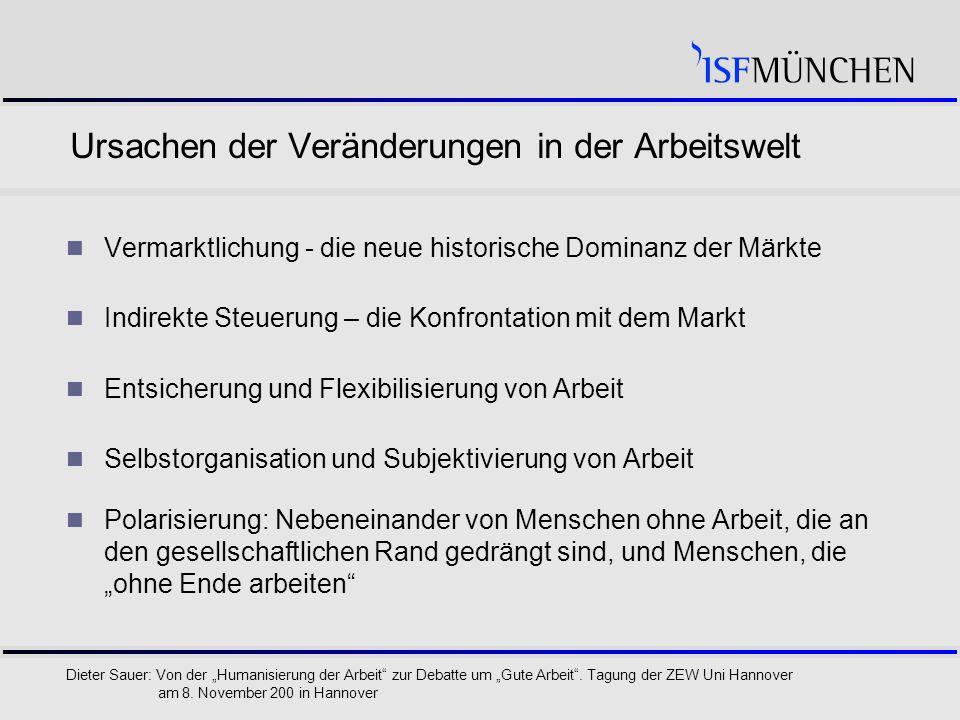 """7 Dieter Sauer: Von der """"Humanisierung der Arbeit zur Debatte um """"Gute Arbeit ."""