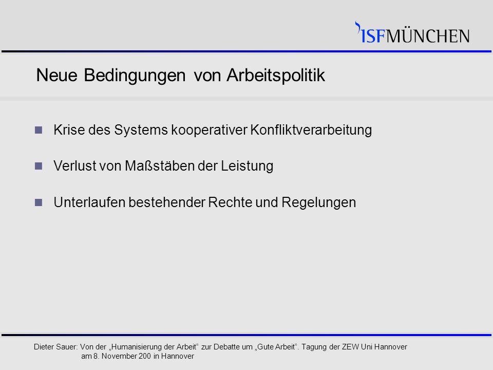 """8 Dieter Sauer: Von der """"Humanisierung der Arbeit zur Debatte um """"Gute Arbeit ."""