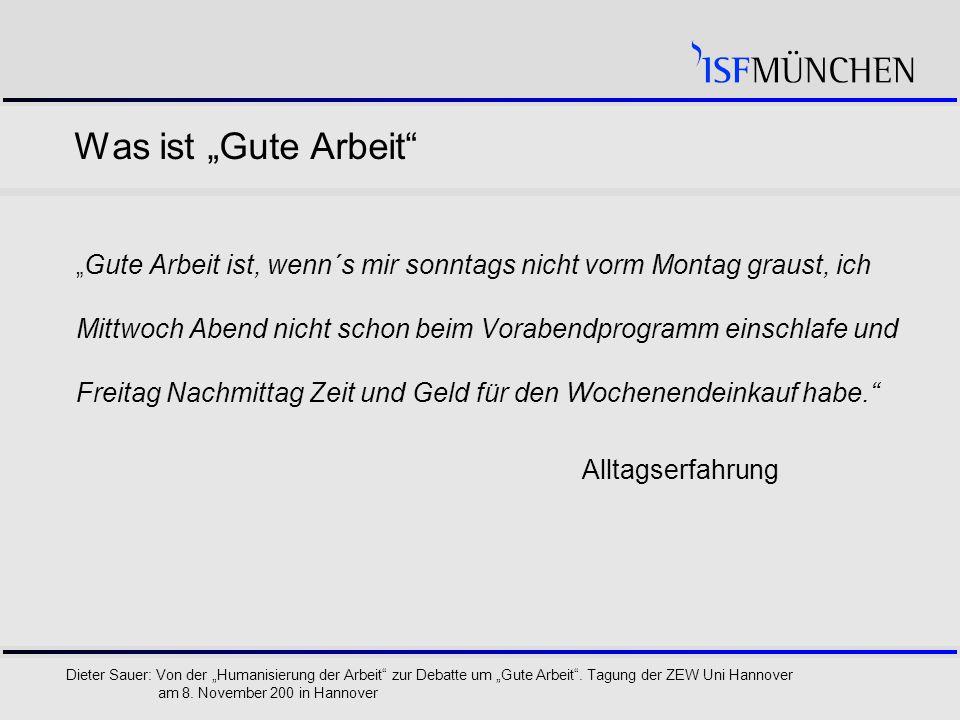 """9 Dieter Sauer: Von der """"Humanisierung der Arbeit zur Debatte um """"Gute Arbeit ."""
