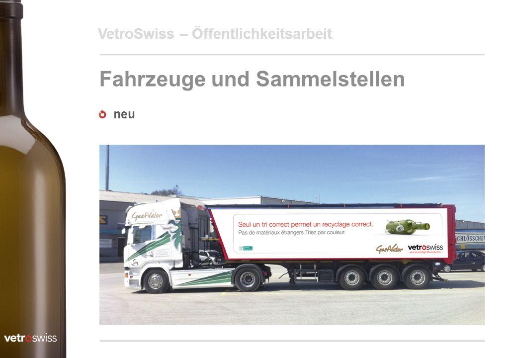 VetroSwiss – Öffentlichkeitsarbeit Fahrzeuge und Sammelstellen neu
