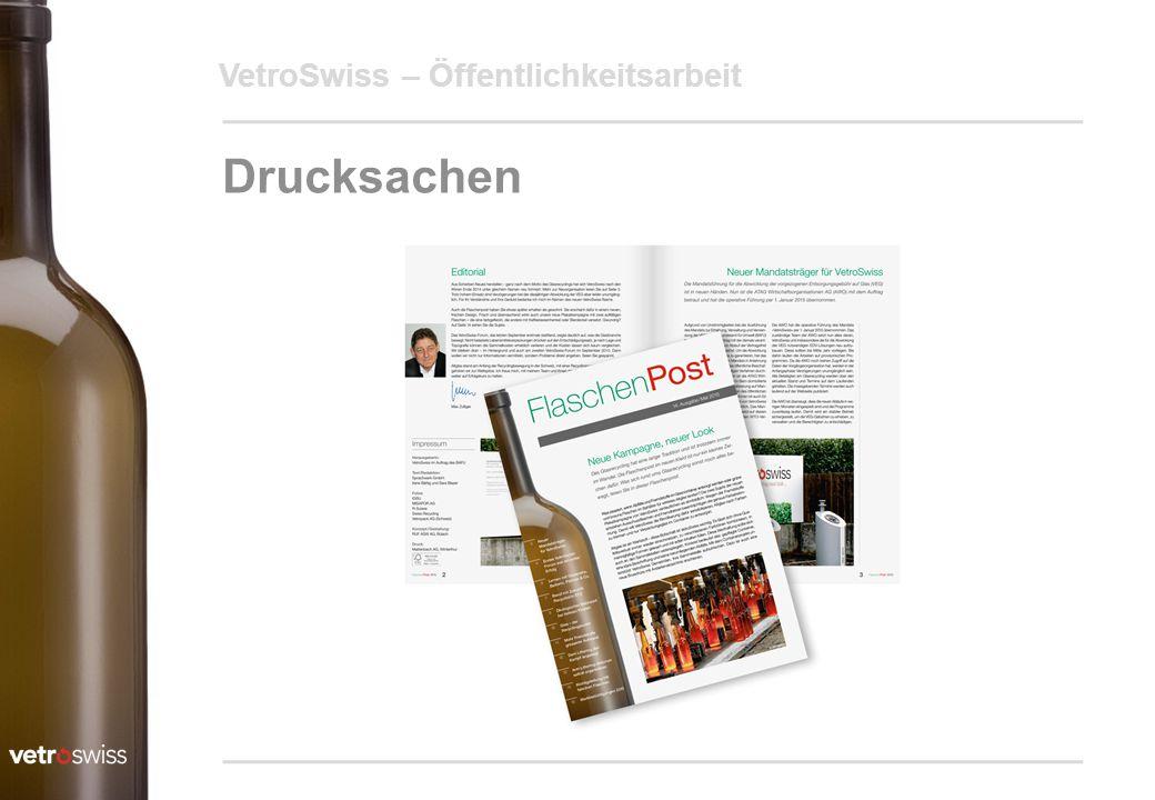VetroSwiss – Öffentlichkeitsarbeit Drucksachen