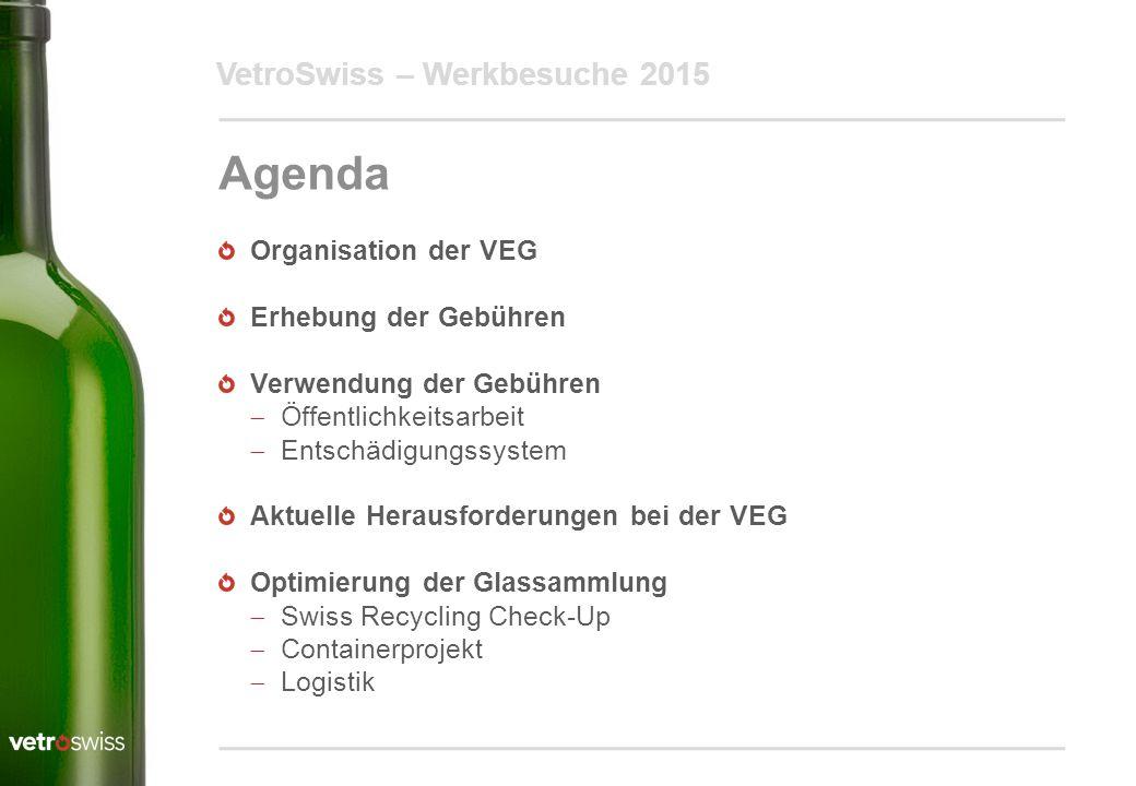 VetroSwiss – Werkbesuche 2015 Agenda Organisation der VEG Erhebung der Gebühren Verwendung der Gebühren  Öffentlichkeitsarbeit  Entschädigungssystem