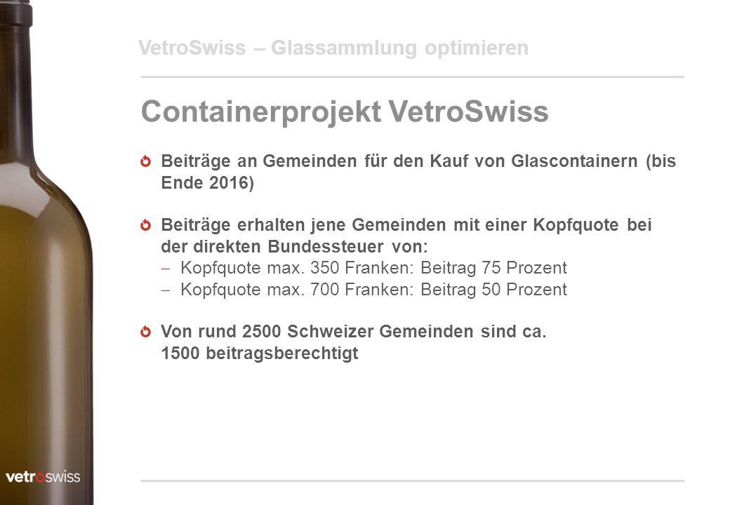 VetroSwiss – Glassammlung optimieren Containerprojekt VetroSwiss Beiträge an Gemeinden für den Kauf von Glascontainern (bis Ende 2016) Beiträge erhalt