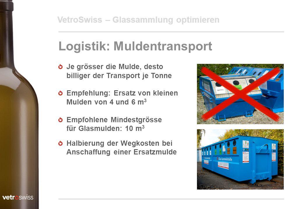 VetroSwiss – Glassammlung optimieren Logistik: Muldentransport Je grösser die Mulde, desto billiger der Transport je Tonne Empfehlung: Ersatz von klei