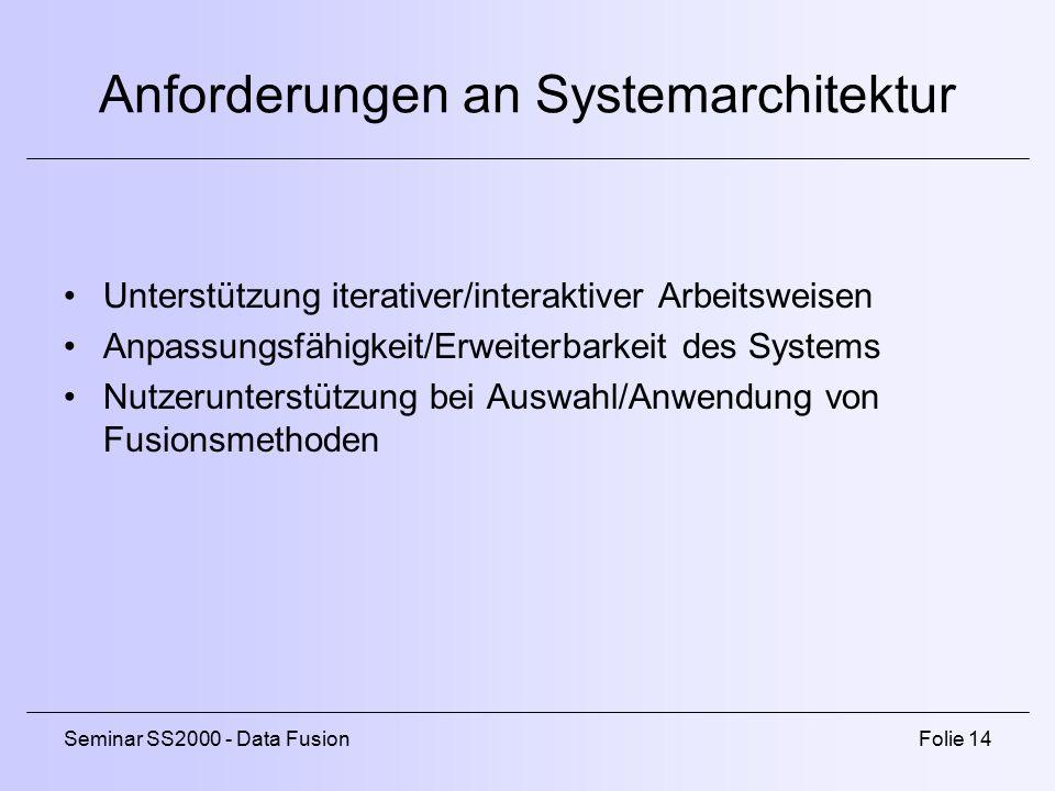Seminar SS2000 - Data FusionFolie 14 Anforderungen an Systemarchitektur Unterstützung iterativer/interaktiver Arbeitsweisen Anpassungsfähigkeit/Erweiterbarkeit des Systems Nutzerunterstützung bei Auswahl/Anwendung von Fusionsmethoden
