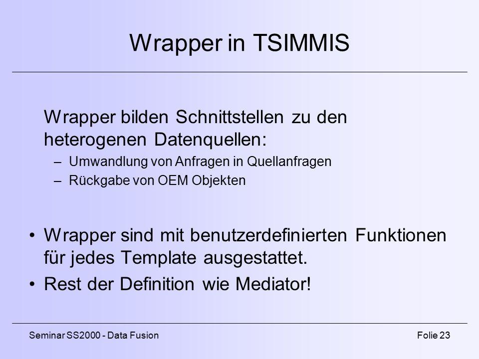 Seminar SS2000 - Data FusionFolie 23 Wrapper in TSIMMIS Wrapper bilden Schnittstellen zu den heterogenen Datenquellen: –Umwandlung von Anfragen in Quellanfragen –Rückgabe von OEM Objekten Wrapper sind mit benutzerdefinierten Funktionen für jedes Template ausgestattet.