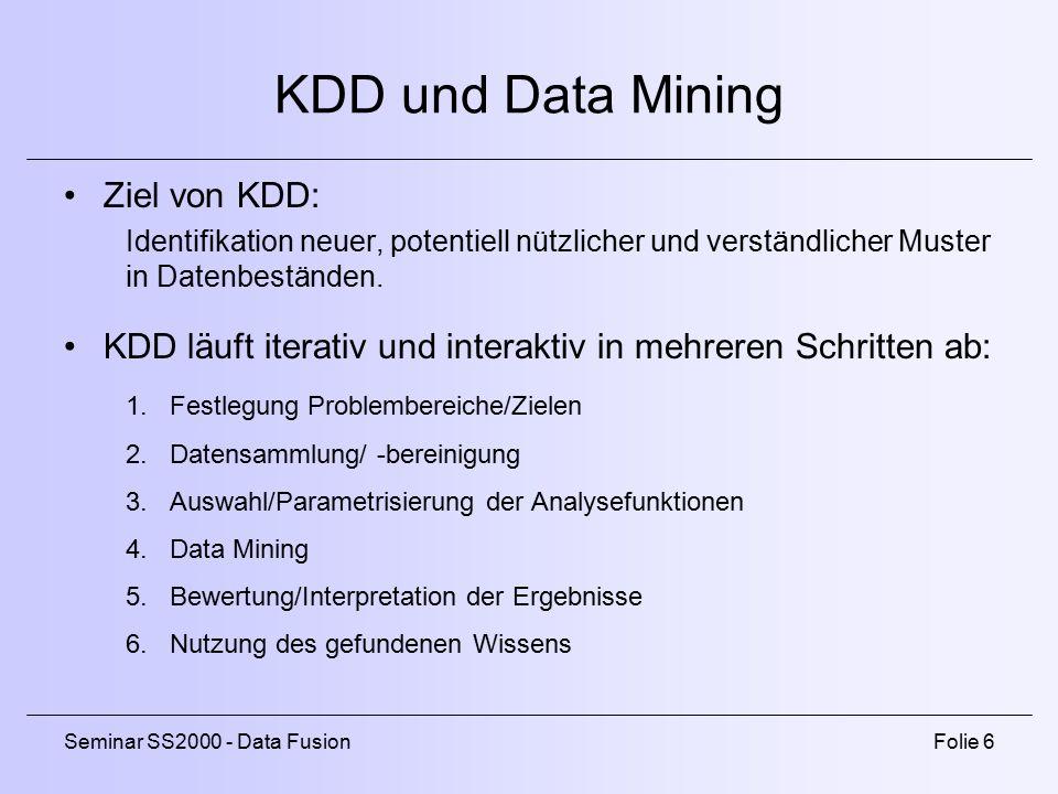 Seminar SS2000 - Data FusionFolie 6 KDD und Data Mining Ziel von KDD: Identifikation neuer, potentiell nützlicher und verständlicher Muster in Datenbeständen.