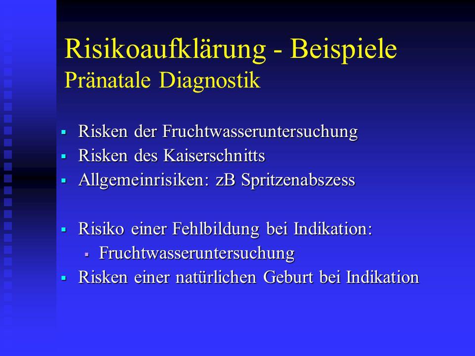 Risikoaufklärung - Beispiele Pränatale Diagnostik  Risken der Fruchtwasseruntersuchung  Risken des Kaiserschnitts  Allgemeinrisiken: zB Spritzenabszess  Risiko einer Fehlbildung bei Indikation:  Fruchtwasseruntersuchung  Risken einer natürlichen Geburt bei Indikation