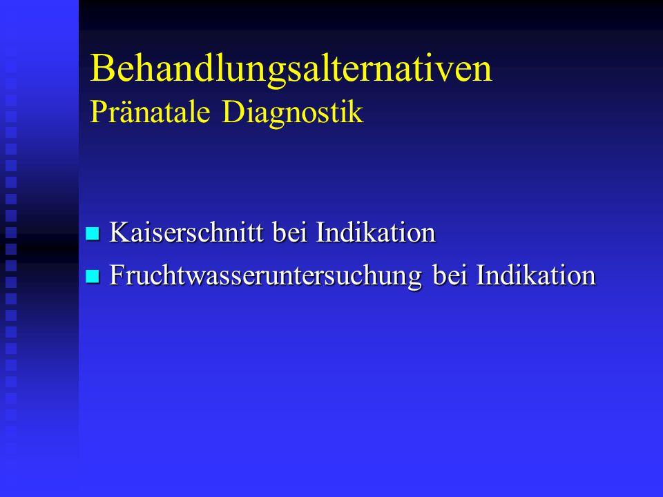 Behandlungsalternativen Pränatale Diagnostik Kaiserschnitt bei Indikation Kaiserschnitt bei Indikation Fruchtwasseruntersuchung bei Indikation Fruchtwasseruntersuchung bei Indikation