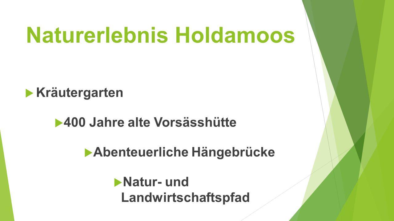 Naturerlebnis Holdamoos  Kräutergarten  400 Jahre alte Vorsässhütte  Abenteuerliche Hängebrücke  Natur- und Landwirtschaftspfad