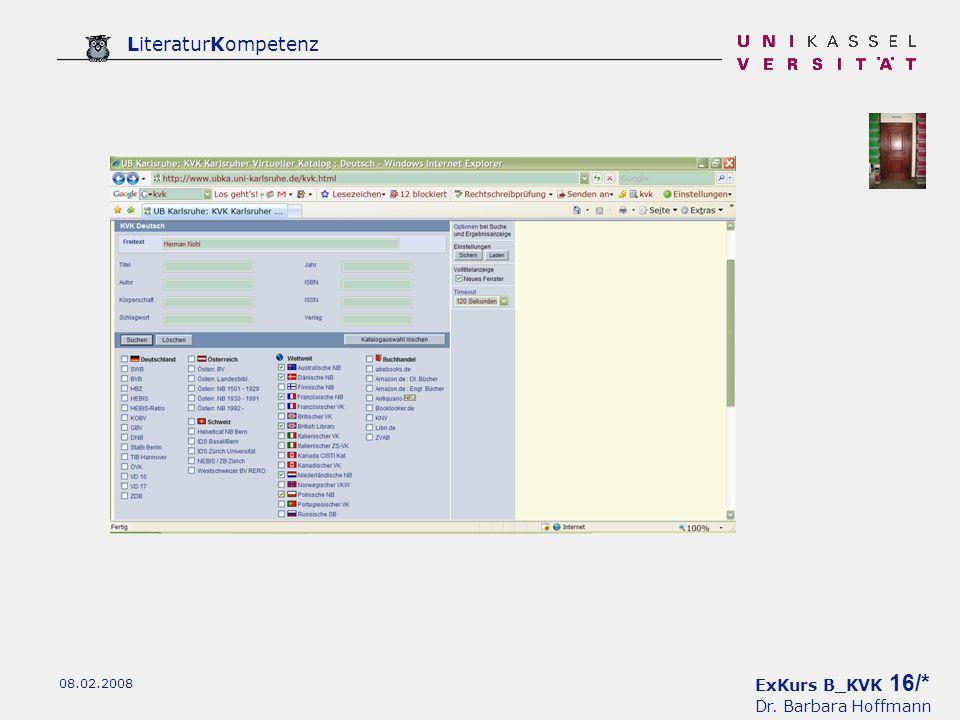 ExKurs B_KVK 16/* Dr. Barbara Hoffmann LiteraturKompetenz 08.02.2008