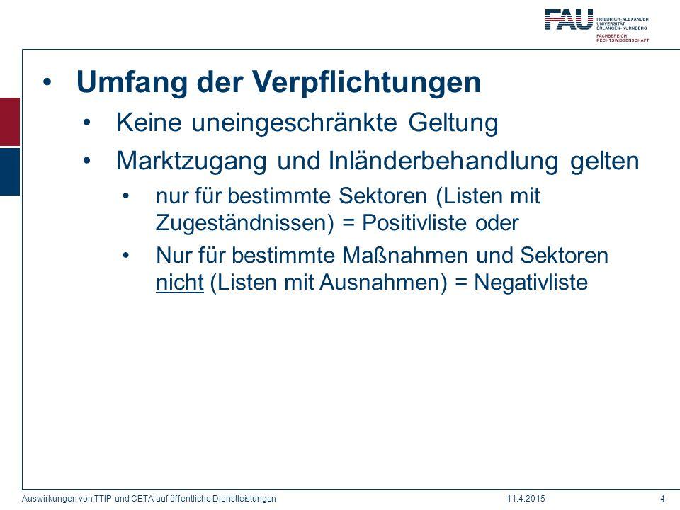 Umfang der Verpflichtungen Keine uneingeschränkte Geltung Marktzugang und Inländerbehandlung gelten nur für bestimmte Sektoren (Listen mit Zugeständni