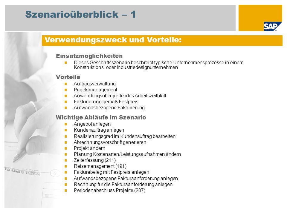 Szenarioüberblick – 2 Erforderlich SAP enhancement package 4 for SAP ERP 6.0 An den Abläufen beteiligte Benutzerrollen Sachbearbeiter Vertrieb Sachbearbeiter Fakturierung Projektleiter MItarbeiter Erforderliche SAP-Anwendungen: