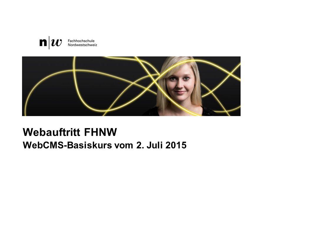 FHNW Basiskurs Web-CMS Organisation Web FHNW 3 FHNW & Webdienste4-5 Plone WebCMS Was ist ein CMS?6-7 Ordner (Teil 1) –Funktionsweise8-9 –Übung10 Seiten (Teil1) –Erstellen und Umbenennen11-13 –Titel und Zusammenfassung14-15 –Webeditor –Schaltflächen16 –Bilder einbinden17-18 –Links zu Seiten und Dateien19-23 Linkartikel 24-26 FHNW CMS-Basiskurs Inhaltsverzeichnis Seiten (Teil 2) –Webeditor27 –Tabelle28-29 –Editor vergrössern30 –Einstellungen31 –Suchmaschinenoptimierung32 –Historie33 –Arbeitskopie34-36 Ordner (Teil 2) –Übersicht37-38 –Startseite39 –Ordnerbefehle40 –Dateien hochladen 41 –Navigation sortieren42-43 –Status 44 Ressource: help.fhnw.ch45 2