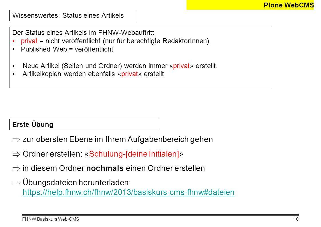 FHNW Basiskurs Web-CMS Plone WebCMS Wissenswertes: Status eines Artikels Der Status eines Artikels im FHNW-Webauftritt privat = nicht veröffentlicht (nur für berechtigte RedaktorInnen) Published Web = veröffentlicht Neue Artikel (Seiten und Ordner) werden immer «privat» erstellt.
