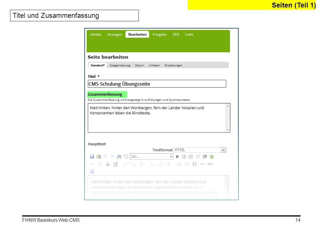 FHNW Basiskurs Web-CMS Seiten (Teil 1) 14 Titel und Zusammenfassung