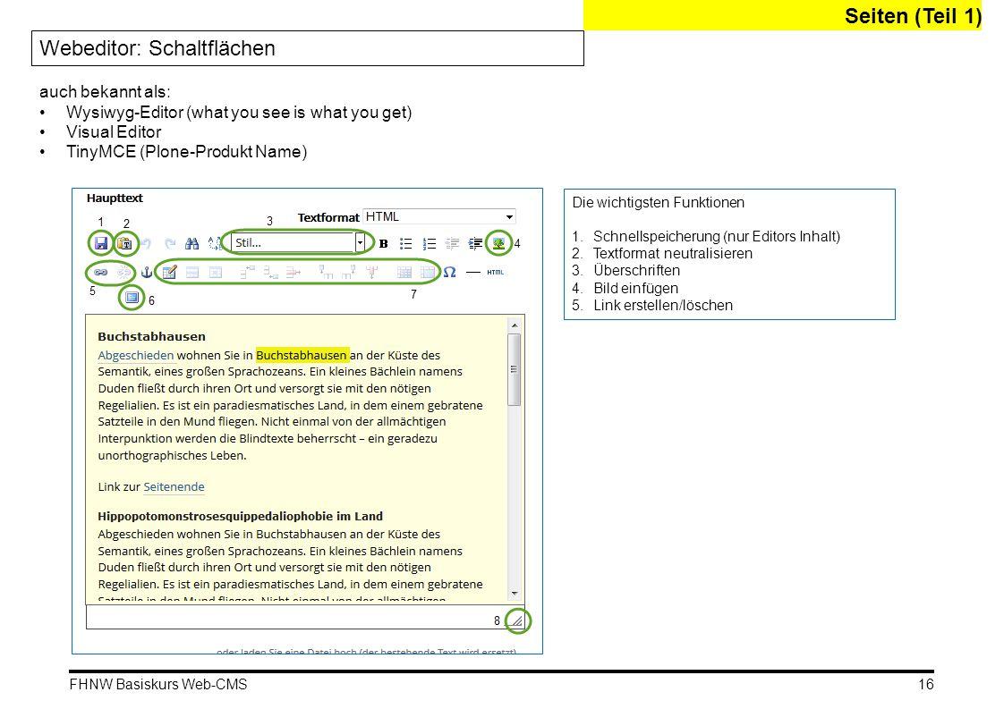 FHNW Basiskurs Web-CMS Seiten (Teil 1) Webeditor: Schaltflächen Die wichtigsten Funktionen 1.Schnellspeicherung (nur Editors Inhalt) 2.Textformat neut