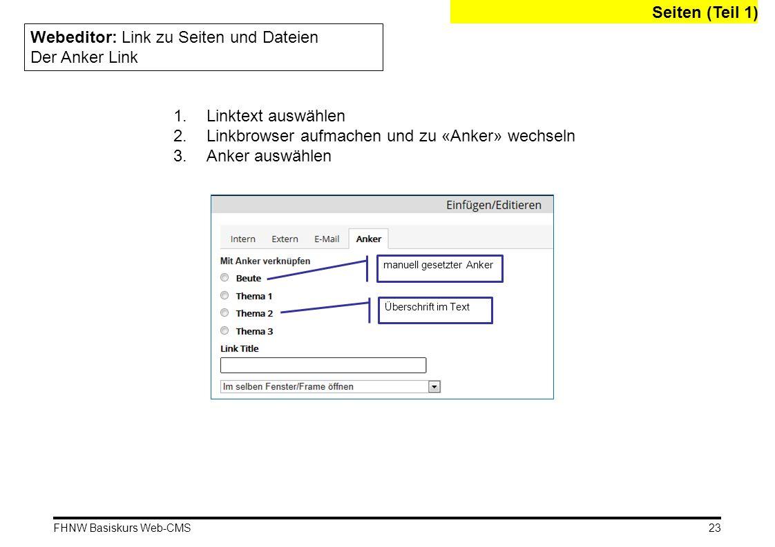 FHNW Basiskurs Web-CMS Seiten (Teil 1) Webeditor: Link zu Seiten und Dateien Der Anker Link 1.Linktext auswählen 2.Linkbrowser aufmachen und zu «Anker» wechseln 3.Anker auswählen manuell gesetzter Anker Überschrift im Text 23