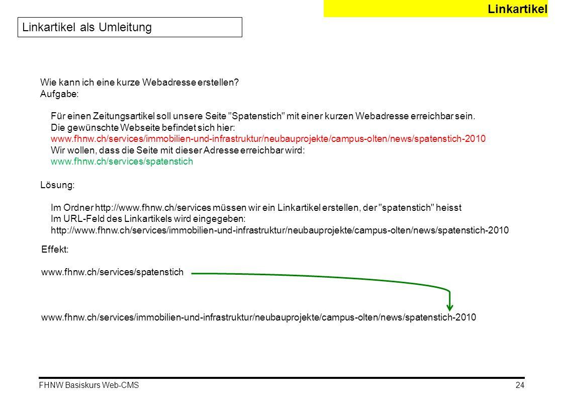 FHNW Basiskurs Web-CMS Linkartikel Linkartikel als Umleitung Wie kann ich eine kurze Webadresse erstellen? Aufgabe: Für einen Zeitungsartikel soll uns
