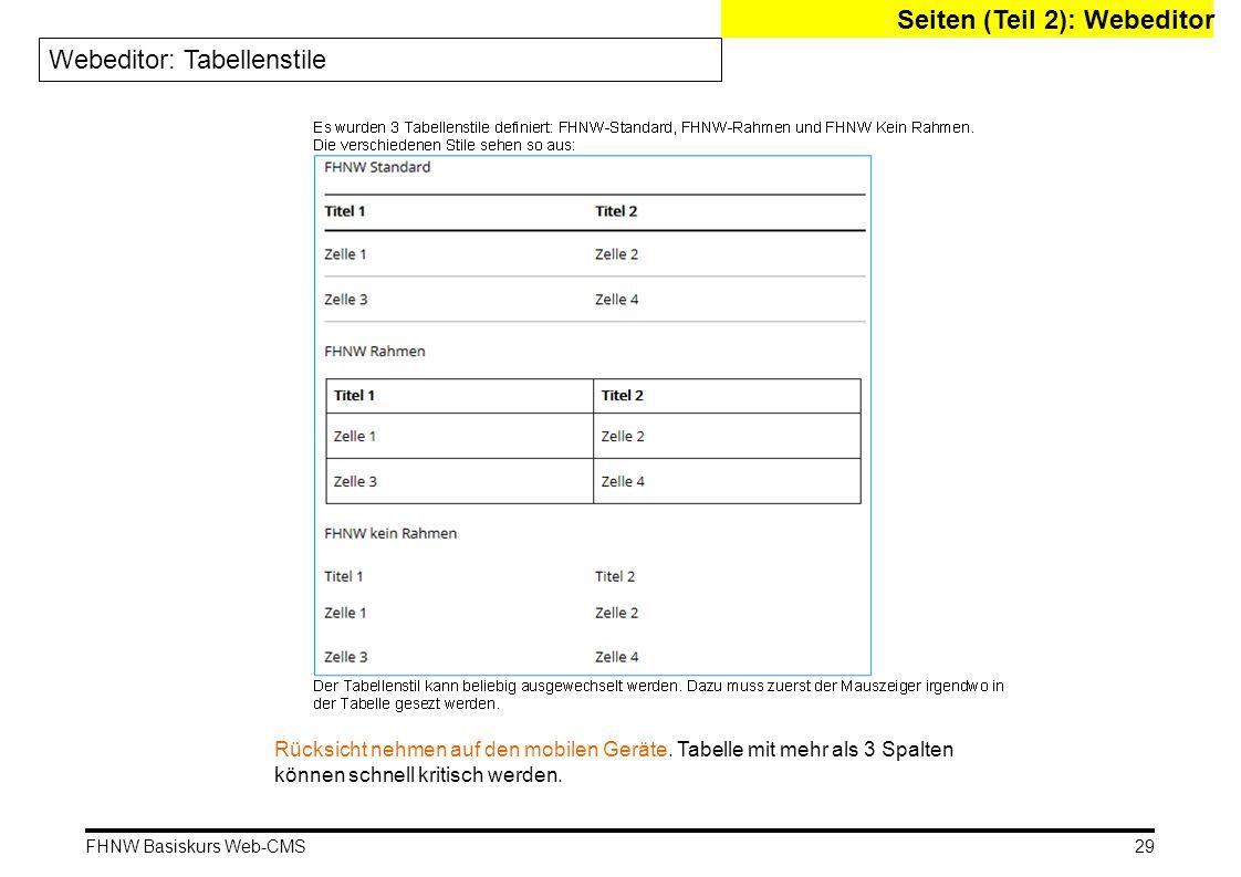 FHNW Basiskurs Web-CMS Seiten (Teil 2): Webeditor Webeditor: Tabellenstile 29 Rücksicht nehmen auf den mobilen Geräte.