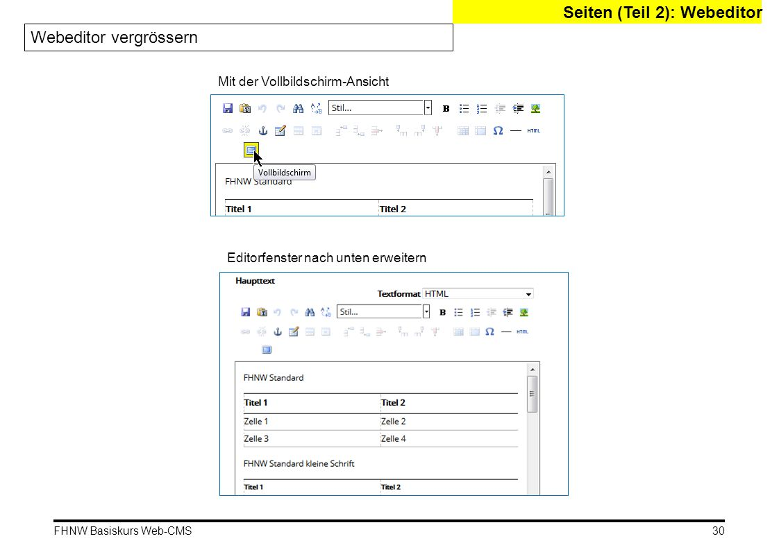 FHNW Basiskurs Web-CMS Seiten (Teil 2): Webeditor Webeditor vergrössern Mit der Vollbildschirm-Ansicht Editorfenster nach unten erweitern 30