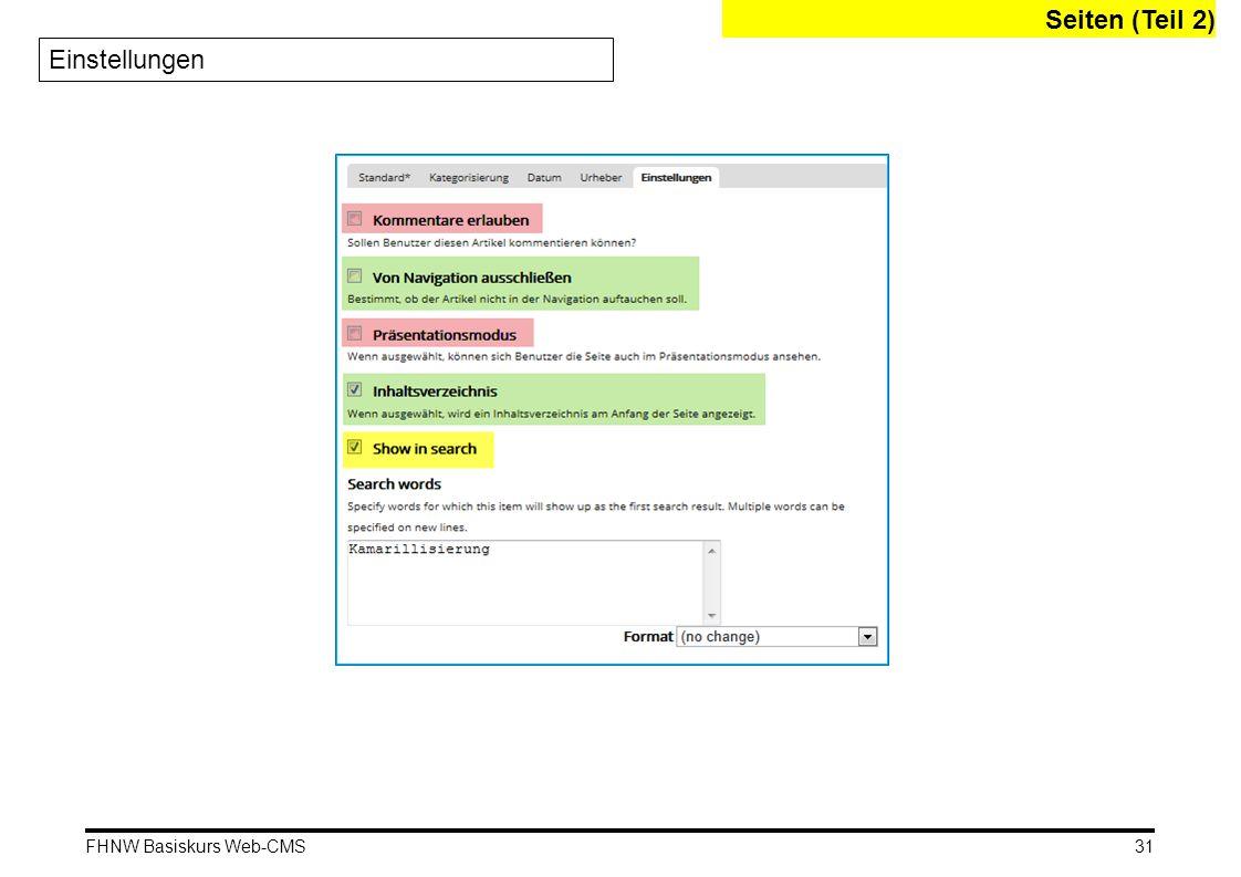 FHNW Basiskurs Web-CMS Einstellungen Seiten (Teil 2) 31
