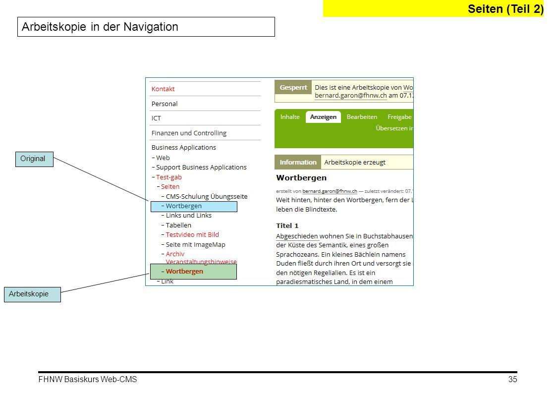 FHNW Basiskurs Web-CMS Arbeitskopie in der Navigation Original Arbeitskopie Seiten (Teil 2) 35