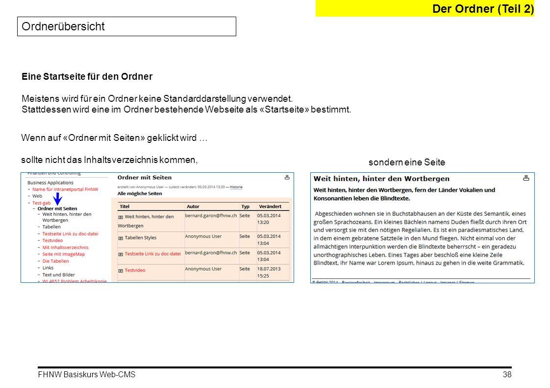 FHNW Basiskurs Web-CMS Der Ordner (Teil 2) Ordnerübersicht 38 Eine Startseite für den Ordner Meistens wird für ein Ordner keine Standarddarstellung verwendet.