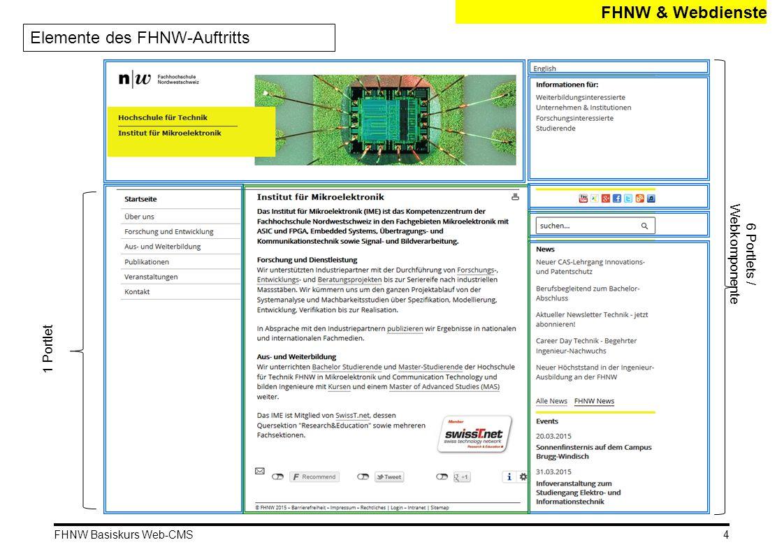 FHNW Basiskurs Web-CMS Auch FHNW: Die Webdienste Für Projekte, Kooperationen und Sonderthemen FHNW & Webdienste Die Webdienste-Sites 5