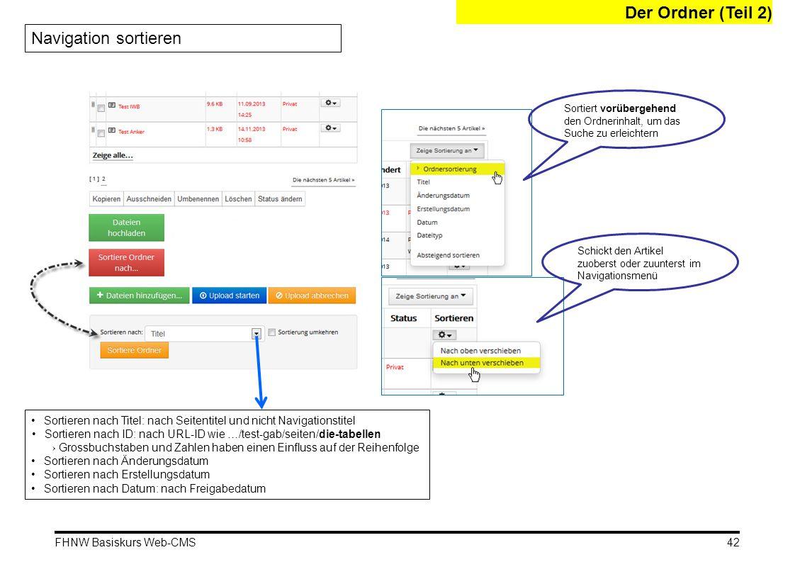 FHNW Basiskurs Web-CMS Der Ordner (Teil 2) Navigation sortieren Sortieren nach Titel: nach Seitentitel und nicht Navigationstitel Sortieren nach ID: nach URL-ID wie …/test-gab/seiten/die-tabellen → Grossbuchstaben und Zahlen haben einen Einfluss auf der Reihenfolge Sortieren nach Änderungsdatum Sortieren nach Erstellungsdatum Sortieren nach Datum: nach Freigabedatum Sortiert vorübergehend den Ordnerinhalt, um das Suche zu erleichtern Schickt den Artikel zuoberst oder zuunterst im Navigationsmenü 42