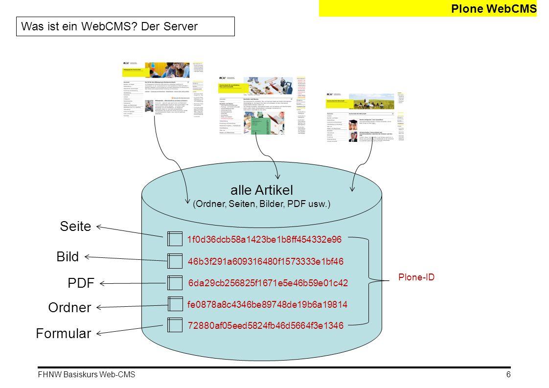 FHNW Basiskurs Web-CMS Seiten (Teil 1) Webeditor: Bilder einbinden 17