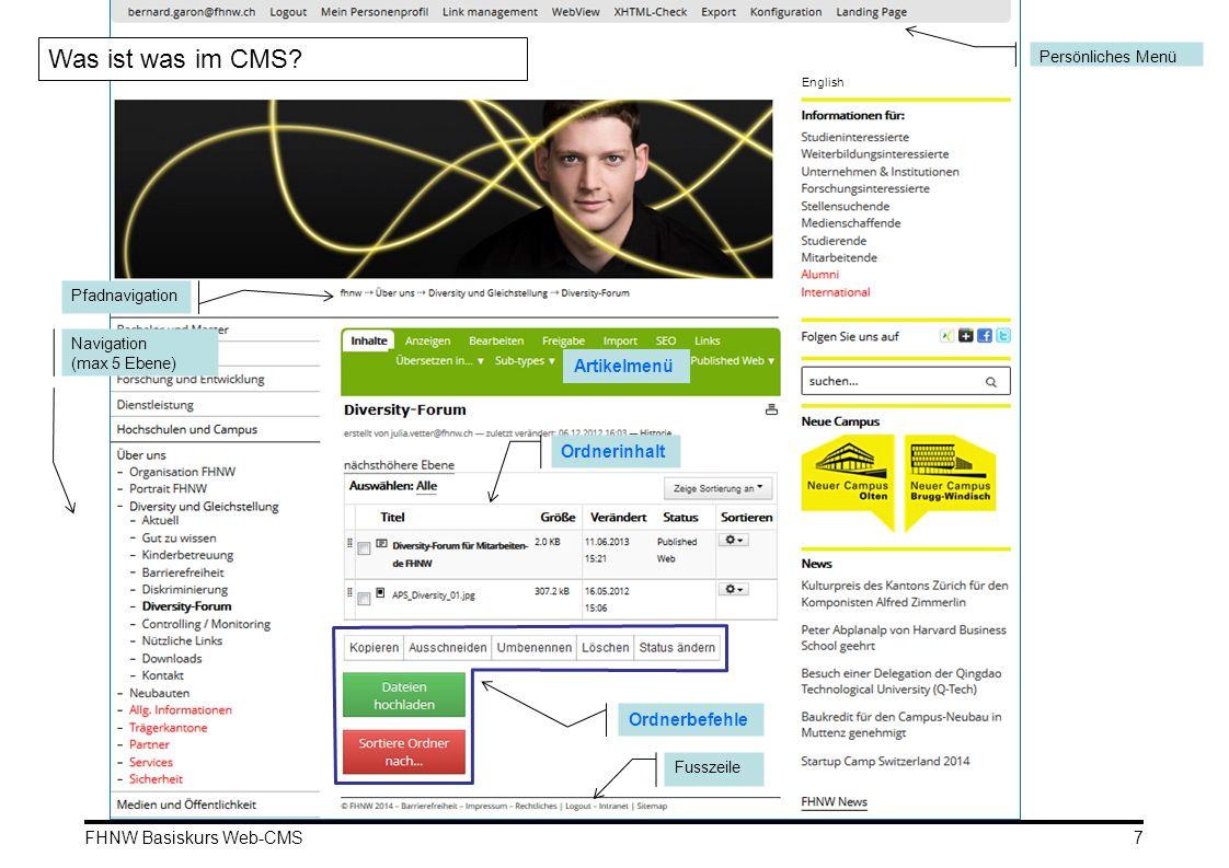 FHNW Basiskurs Web-CMS Persönliches Menü Pfadnavigation Artikelmenü Navigation (max 5 Ebene) Fusszeile Ordnerinhalt Was ist was im CMS? Ordnerbefehle