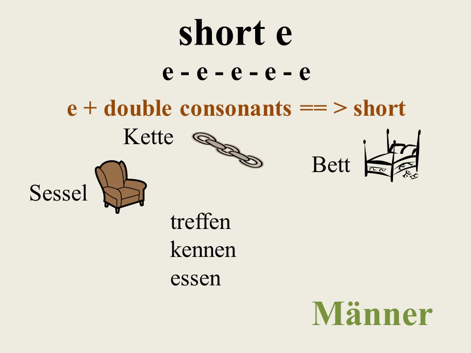 short e e - e - e - e - e e + two consonants == > short elf Fest Rest Ende helfen