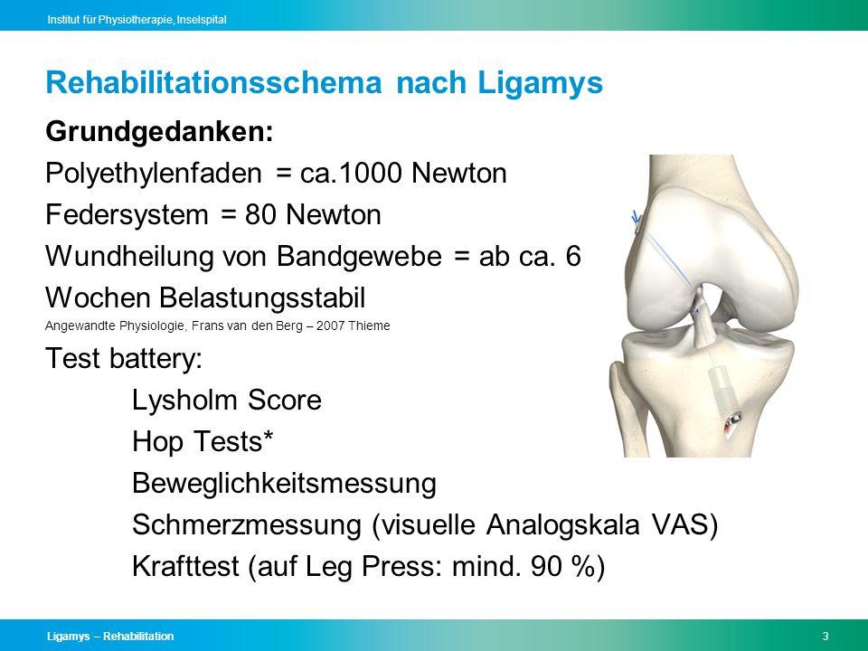 Ligamys – Rehabilitation4 Institut für Physiotherapie, Inselspital Reha-Schema für Patienten mit isolierter VKB- Ruptur Prinzipiell gilt: Belastung nach Massgabe Kein Training für den Musculus Quadriceps (Streckmuskel) in offener Muskelkette Ab dem 5.