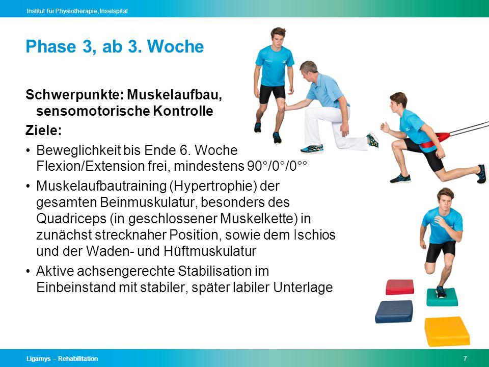 Ligamys – Rehabilitation7 Institut für Physiotherapie, Inselspital Schwerpunkte: Muskelaufbau, sensomotorische Kontrolle Ziele: Beweglichkeit bis Ende 6.