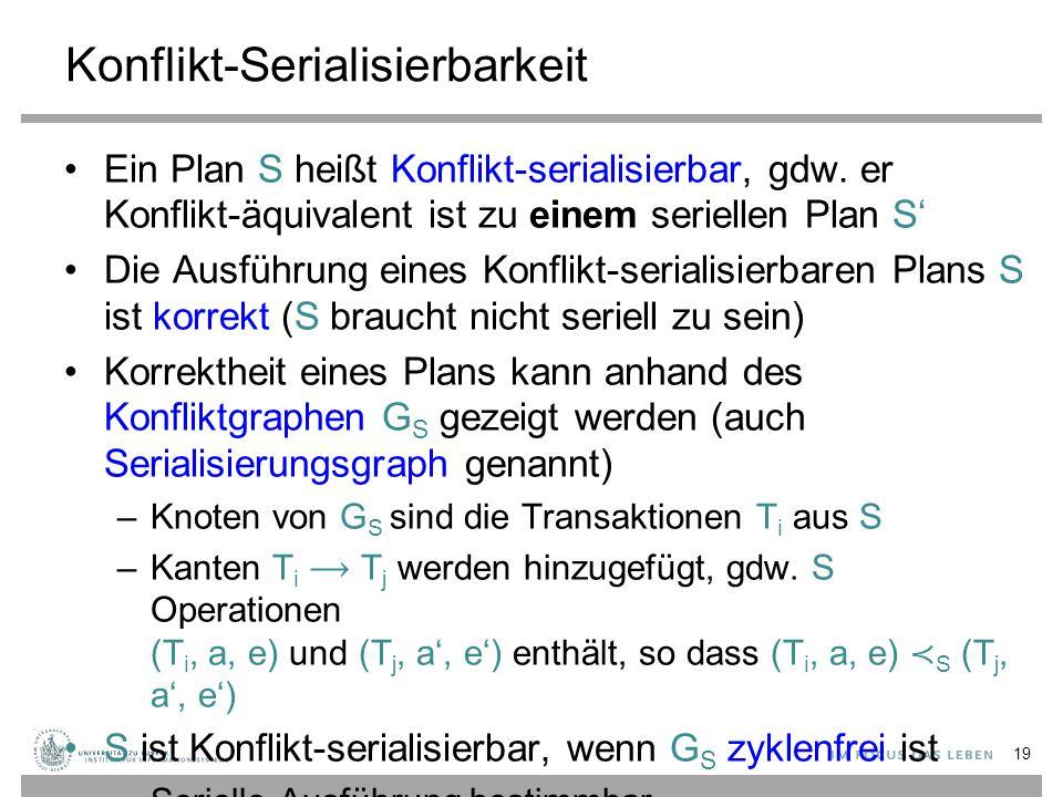 Konflikt-Serialisierbarkeit Ein Plan S heißt Konflikt-serialisierbar, gdw.