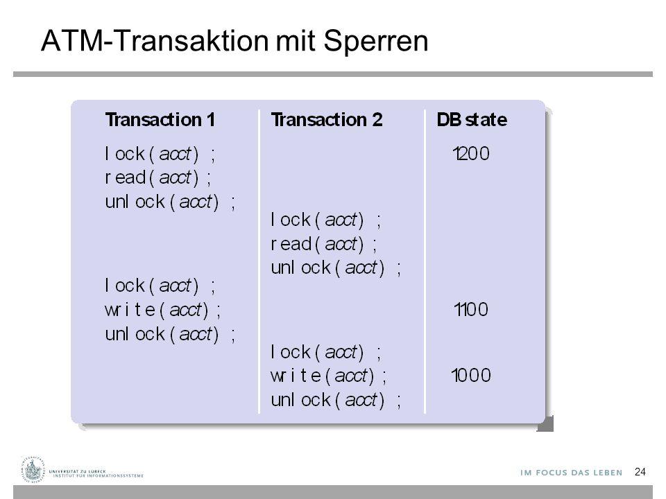ATM-Transaktion mit Sperren 24