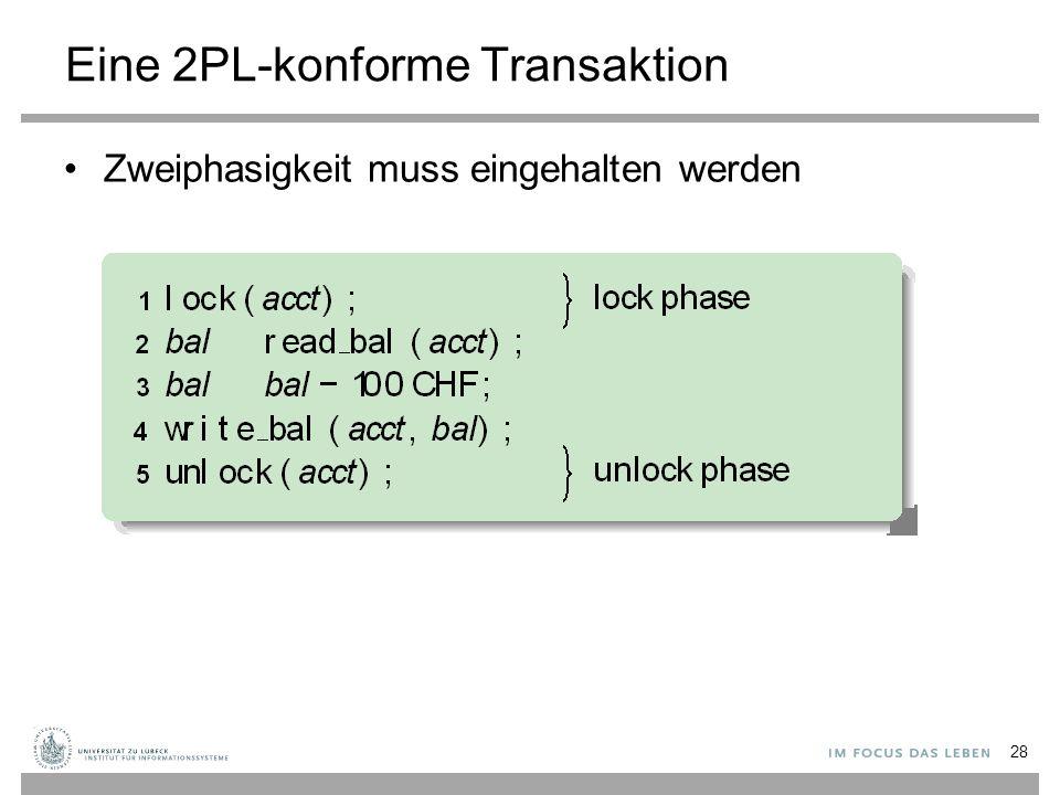 Eine 2PL-konforme Transaktion Zweiphasigkeit muss eingehalten werden 28