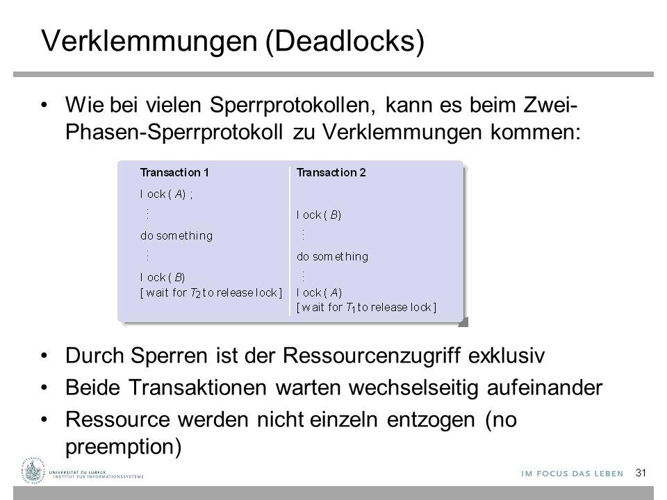 Verklemmungen (Deadlocks) Wie bei vielen Sperrprotokollen, kann es beim Zwei- Phasen-Sperrprotokoll zu Verklemmungen kommen: Durch Sperren ist der Ressourcenzugriff exklusiv Beide Transaktionen warten wechselseitig aufeinander Ressource werden nicht einzeln entzogen (no preemption) 31