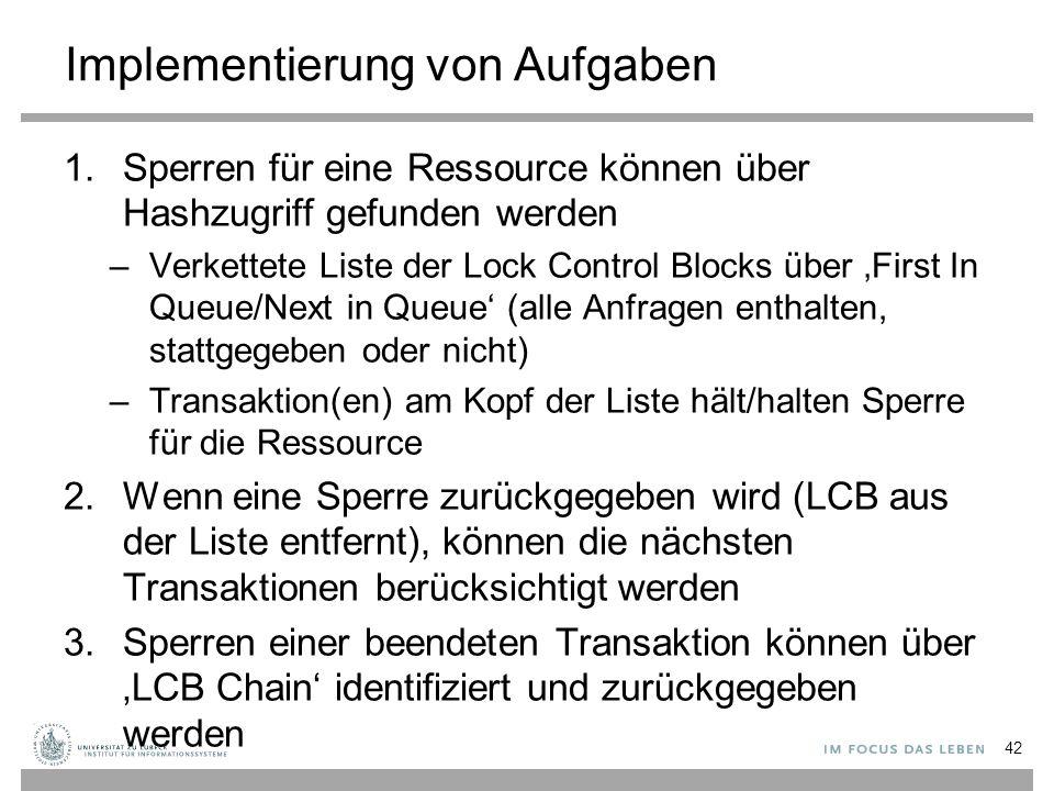 Implementierung von Aufgaben 1.Sperren für eine Ressource können über Hashzugriff gefunden werden –Verkettete Liste der Lock Control Blocks über 'First In Queue/Next in Queue' (alle Anfragen enthalten, stattgegeben oder nicht) –Transaktion(en) am Kopf der Liste hält/halten Sperre für die Ressource 2.Wenn eine Sperre zurückgegeben wird (LCB aus der Liste entfernt), können die nächsten Transaktionen berücksichtigt werden 3.Sperren einer beendeten Transaktion können über 'LCB Chain' identifiziert und zurückgegeben werden 42