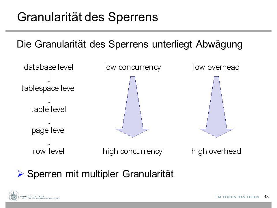 Granularität des Sperrens Die Granularität des Sperrens unterliegt Abwägung  Sperren mit multipler Granularität 43