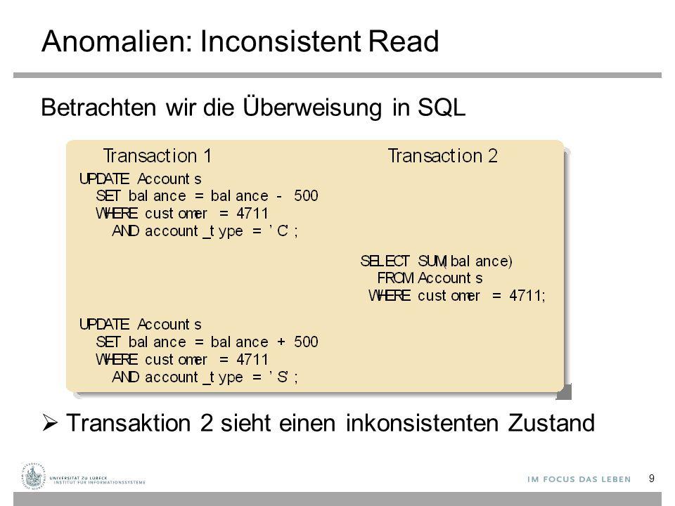 Implementierung eines Sperrverwalters Ein Sperrverwalter muss drei Aufgaben effektiv erledigen: 1.Prüfen, welche Sperren für eine Ressource gehalten werden (um eine Sperranforderung zu behandeln) 2.Bei Sperr-Rückgabe müssen die Transaktionen, die die Sperre haben wollen, schnell identifizierbar sein 3.Wenn eine Transaktion beendet wird, müssen alle von der Transaktion angeforderten und gehaltenen Sperren zurückgegeben werden Wie muss eine Datenstruktur aussehen, mit der diese Anforderungen erfüllt werden können.