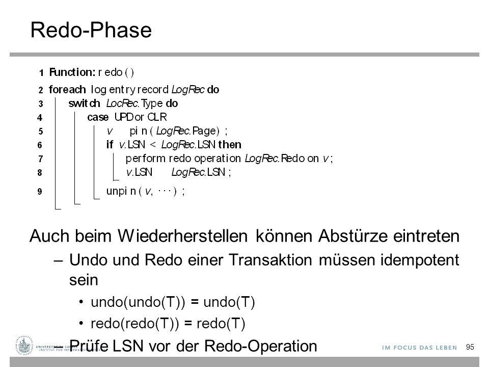 Redo-Phase Auch beim Wiederherstellen können Abstürze eintreten –Undo und Redo einer Transaktion müssen idempotent sein undo(undo(T)) = undo(T) redo(redo(T)) = redo(T) –Prüfe LSN vor der Redo-Operation 95