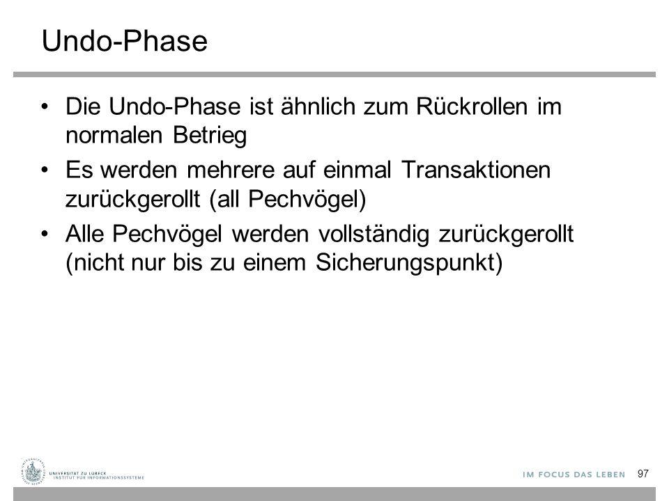 Undo-Phase Die Undo-Phase ist ähnlich zum Rückrollen im normalen Betrieg Es werden mehrere auf einmal Transaktionen zurückgerollt (all Pechvögel) Alle Pechvögel werden vollständig zurückgerollt (nicht nur bis zu einem Sicherungspunkt) 97
