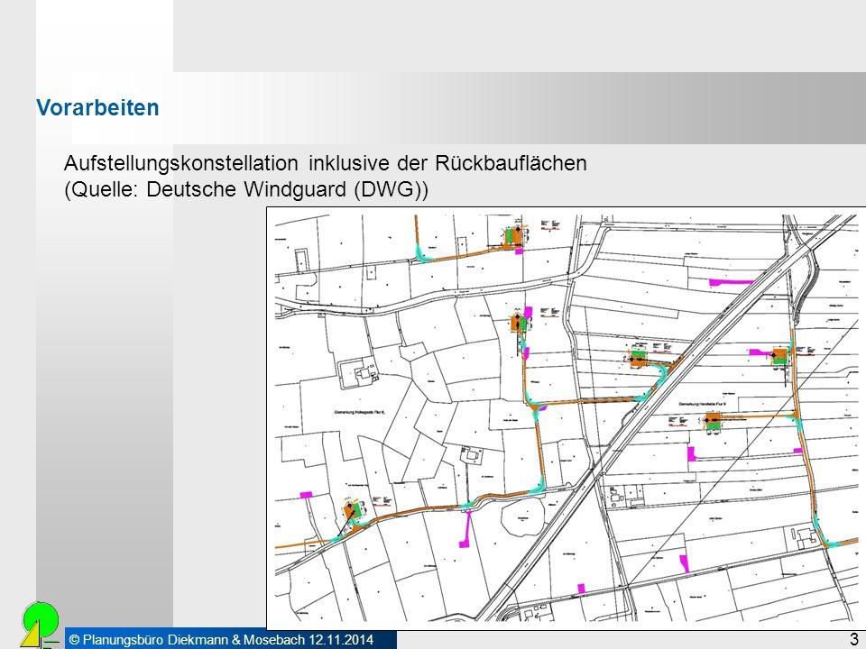 © Planungsbüro Diekmann & Mosebach 12.11.2014 3 Aufstellungskonstellation inklusive der Rückbauflächen (Quelle: Deutsche Windguard (DWG)) Vorarbeiten